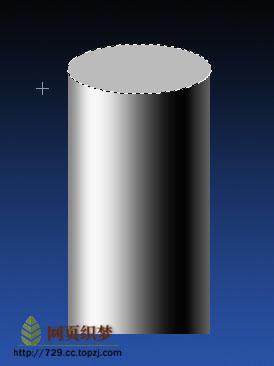 圆柱体透视-9、回到圆柱层,按键盘上的向下方向键,将选区向下移动.-图片